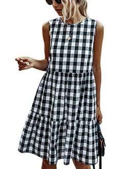 ECOWISH Women Dresses Plaid Sleeveless Summer Casual Sundress A Line Loose Swing T Shirt Mini Dress with Pockets