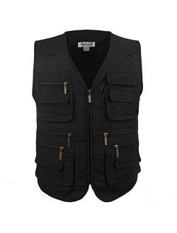LUSI MADAM Men's Poplin Outdoors Travel Sports Multi-Pockets Work Fishing Vest