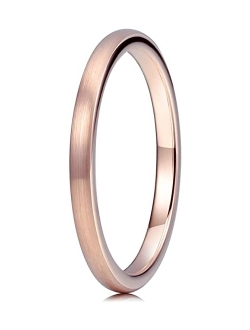 THREE KEYS JEWELRY 1mm 2mm 4mm 6mm 8mm Tungsten Titanium Wedding Ring for Women Mens Plated Rose Gold Polished Band