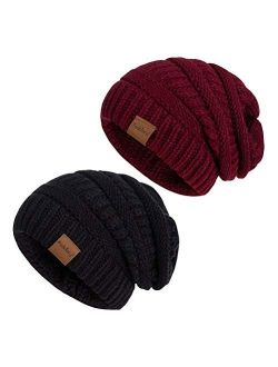 Fedciory Slouchy Beanie Hat for Women, Winter Warm Knit Oversized Chunky Thick Soft Ski Cap