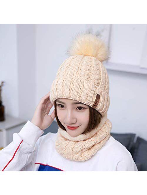 LCZTN Womens Pom Beanie Hat Scarf Set Girls Cute Winter Ski Hat Slouchy Knit Skull Cap with Fleece Lined