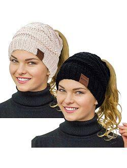 Rosoz Ponytail Beanie for Women,Winter Warm Beanie Tail Soft Stretch Cable Knit Messy High Bun Hat
