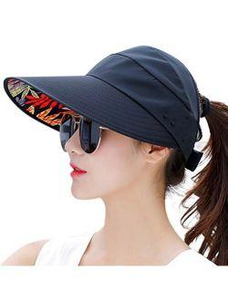 HINDAWI Sun Hats for Women Wide Brim Sun Hat Packable UV Protection Visor Floppy Womens Beach Cap