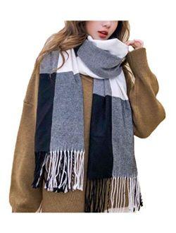 Agio Women's Fashion Scarves Long Shawl Winter Thick Warm Knit Large Plaid Scarf