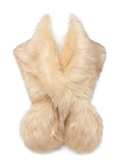 Changuan Extra Large Women's Faux Fur Collar Shawl Scarf Wrap Evening Cape for Winter Coat