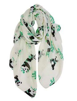 GERINLY Cute Panda Bear Scarfs for Women Cotton Head Wrap Scarves Panda Gifts Accessories