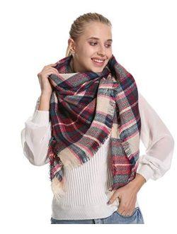 Stylish Plaid Blanket Oversized Cozy Scarf - Chunky Tartan Wrap Shawl