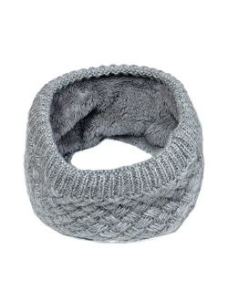Lo Shokim Harsh Winter Double-Layer Soft Fleece Lined Thick Knit Neck Warmer Circle Scarf Windproof