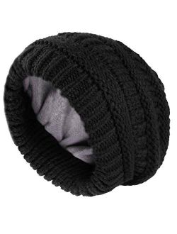Camptrace Winter Beanie Hats for Women Cable Knit Fleece Lining Warm Hats Slouchy Thick Skull Cap