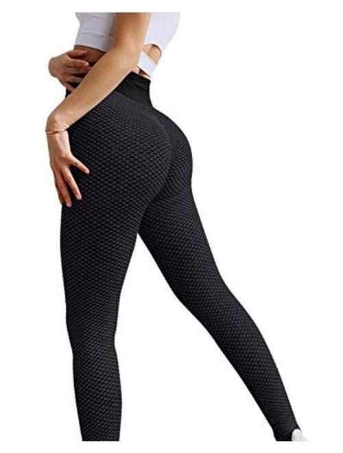MOSHENGQI Ruched Butt Lifting High Waist Textured Yoga Pants Tummy Control Workout Leggings
