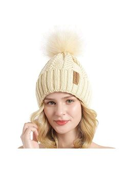 Women Winter Knit Cable Hat Chunky Snow Cuff Cap With Faux Fur Pom Pom Beanie Hats