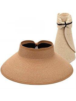 Maylisacc Foldable Straw Sun Visors for Women, Sun Protecetion Wide Brim Sun Hats Adjustable Topless Beach Hat