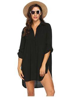 Women's Swimsuit Beach Cover Up Shirt Bikini Beachwear Bathing Suit Beach Dress