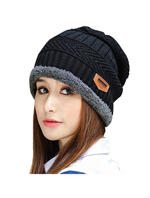 Muryobao Thick Warm Winter Beanie Hat Soft Stretch Slouchy Skully Knit Cap for Women