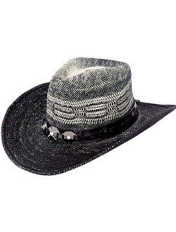 Queue Essentials Men & Women's Woven Straw Cowboy Cowgirl Hat Western Outback w/Wide Brim