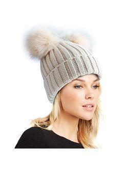 Womens Double Pom Pom Winter Beanie Bobble Hat Knitted Faux Raccoon Fur Detachable Ball Cap Adult Skull Hat