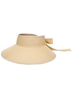 Pineapple&Star Vienna Visor Womens Summer Sun Straw Packable UPF 50+ Beach Hat