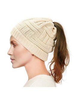 Dafunna Womens Ponytail Beanie Hat Soft Knit BeanieTail Warm Winter Hat