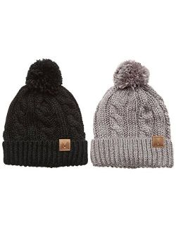 MIRMARU Winter Oversized Cable Knitted Pom Pom Beanie Hat with Fleece Lining.