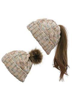 Modern Mummy Women Winter Stretch Cable Knit Beanie Faux Fur Pom Pom Hats Ponytail Beanie Cap