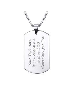 """VNOX Free Engraving Stainless Steel Plain Dog Tag Pendant Necklace with 24"""" Chain,Gift for Dad Husband Boy"""