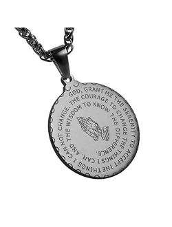 Bible Verse Prayer Necklace Christian Jewelry Gold Stainless Steel Praying Hands Coin Medal Pendant
