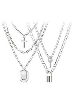 BVROSKI Chains Necklace for Eboy Egirl Men Male Emo Goth Women Teen Girls Boys,2 Layered Lock Key Pendants Necklaces Set,Stainless Steel Jewelry Pack for Pants Punk Play