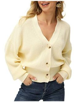 Women V Neck Drop Shoulder Button Down Sweater Lantern Sleeve Knit Cardigan Tops