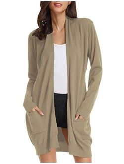 Women's Casual Open Front Cardigan Long Knitted Sweaters With Pockets