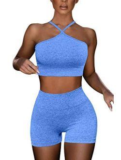 HYZ Women's Workout 2 Piece Outfits High Waist Running Shorts Seamless Gym Yoga Crop Top Bra Sets
