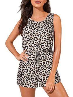 Lindanina Women Romper Summer Casual Sleeveless Jumpsuit Cute Short Romper with Pocket