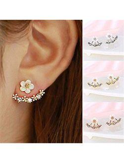 Naomi Women Fashion Accessories Crystal Stud Earrings Boucle d'oreille Femme Flower Earrings Gold Bijoux Jewelry