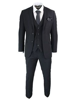 Mens 3 Piece Black Tailored Fit Complete Suit Classic Door Man Mourning Funeral