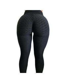 High Waist Textured Workout Leggings Booty Scrunch Yoga Pants Butt Lift Tummy Trousers