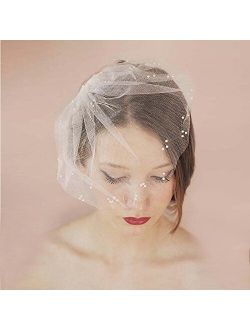 Auch Elegant Soft Tulle Bridal Veil with Comb, Short Ivory White Wedding Veil with Pearl Decorate, Handmade Birdcage Wedding Veils