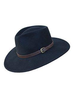 B&S Premium Lewis - Wide Brim Fedora Hat - 100% Wool Felt - Water Resistant - Leather Band