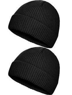 SATINIOR 2 Pieces Winter Trawler Beanie Hat Short Fisherman Skull Hat Knit Cuff Beanie Cap for Men Daily Wearing