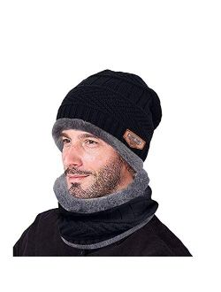 Beanie Hat Thick Knit Hat Warm Fleece Lined Scarf Set Warm Thick Winter Hat for Men & Women