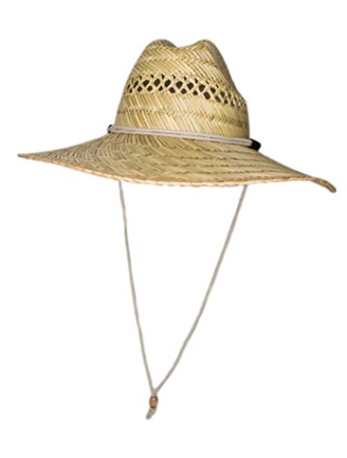 Men's Straw Outback Lifeguard Sun Hat with Wide Brim