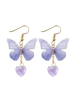Butterfly Wing Earrings with Long Dangle, Easy Match to Butterfly Dress, White T-shirt for Daily Wearing, Vacations or as a Mom Daughter Gifts
