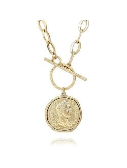 Pomina Fashion Gold Silver Chunky Thick Link Chain Necklace Medallion Chunky Coin Pendant Toggle Necklace for Women Men Teen Girls