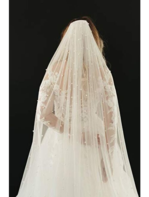 SWEETV 1 Tier Pearl Wedding Bridal Veil with Comb-Cut Edge Long Chapel Length