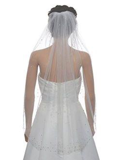 1T 1 Tier Stardust Rhinestone Crystal Bridal Wedding Veil Fingertip Length 36
