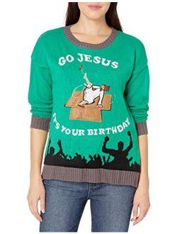 Women's Jesus Manger Led Light-up Ugly Christmas Sweater