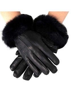 Womens Leather Dressy Gloves Rabbit Fur Trim Cuff Thermal Lining