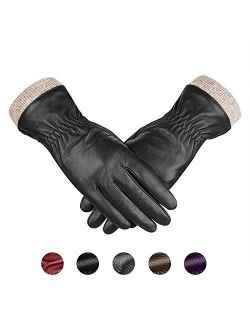 Genuine Sheepskin Leather Gloves For Women, Winter Warm Touchscreen Texting Cashmere Lined Driving Motorcycle Dress Gloves