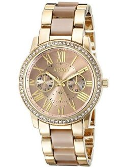 XOXO Women's Analog Watch with Gold-Tone Case, Crystal-Inset Bezel, Fold-Over Clasp - Official XOXO Woman's Gold and Rose Gold Watch, Two-Tone Chain Link Strap - Model: X