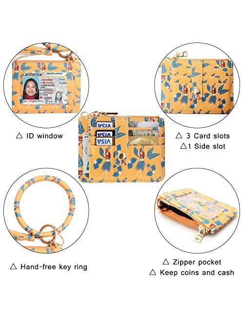 COOLANS Wristlet Bracelet Keychain Wallet Pocket Credit Card Holder Purse Tassel Keychain Bangle Key Ring for Women