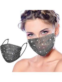 Bling Rhinestone Face Covering Chain Crystal Metal Masquerade Face Coverings Ball Party for Women and Girls