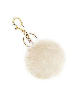 Soleebee Soft Artificial Rabbit Fur Keychain Plush Ball Key Ring Cute Pom Pom Bag Charm for Women Girls